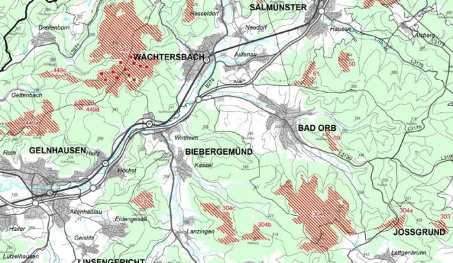 Vorrangflächen gemäss Entwurf 2013 des Sachlichen Teilplans Erneuerbare Energien - Regionalplan Südhessen rund um Bad Orb